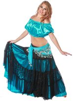 Miss Belly Dance Belly Dance Double Skirt, Top & Hip Scarf Costume Set | Raqs, Lace & Spin