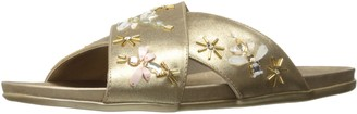 Kenneth Cole Reaction Women's Slim Flat Slip On Sandal with X-Band Upper and Cute Bug Jewels-Metallic