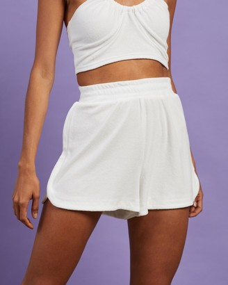 Dazie - Women's White High-Waisted - Britney's Back Terry Towelling Shorts - Size 6 at The Iconic