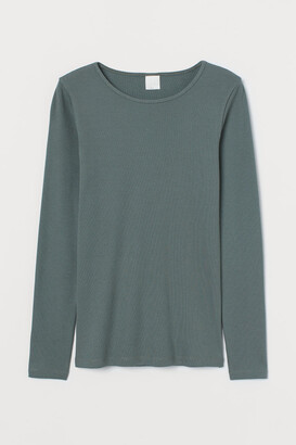 H&M Ribbed Jersey Top - Green