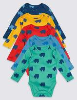 Marks and Spencer 5 Pack Printed Pure Cotton Bodysuits