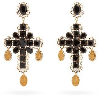 Dolce & Gabbana Cross Crystal-embellished Filigree Clip Earrings - Black