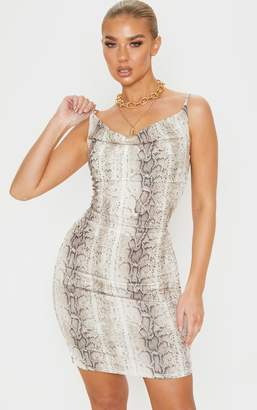 PrettyLittleThing Nude Snake Print Strappy Ruched Bodycon Dress