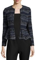 Rebecca Taylor Metallic Tweed Peplum Jacket, Navy Combo