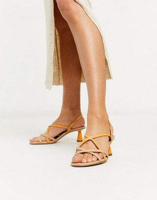 Who What Wear Perla strappy mid heeled sandals in orange