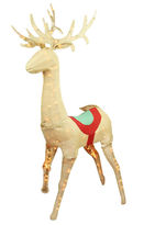 Asstd National Brand 60 Pre-Lit Rustic Burlap Sitting Reindeer Yard Art