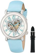 Stuhrling Original Aphrodite Delight Women's Automatic Watch with Silver Dial Analogue Display and Blue Leather Strap 109SW.1215C2