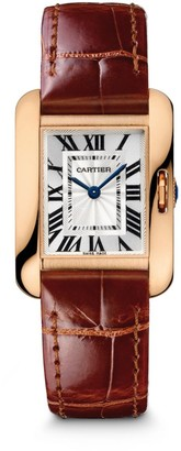 Cartier Tank Anglaise Small 18K Rose Gold & Brown Alligator-Strap Watch