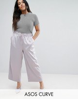 Asos Satin Wide Leg Culotte Pants with Piping