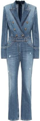 Balmain Distressed denim jumpsuit
