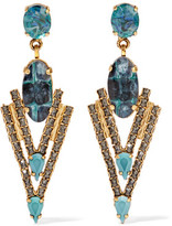 Elizabeth Cole Constance Gold-Tone, Stone And Crystal Earrings