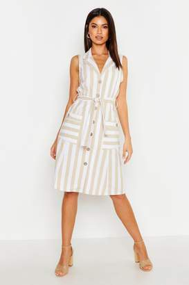 boohoo Linen Stripe Pocket Button Through Midi Dress