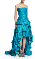 Oscar de la Renta Strapless Tiered-Ruffle High-Low Gown, Aqua