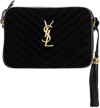 Saint Laurent Medium Lou Satchel Bag in Nero & Nero | FWRD
