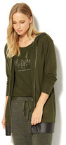New York & Co. Zip-Accent Hooded Tunic Sweatshirt