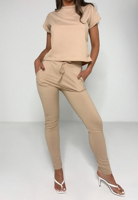 Missguided Beige Rib T Shirt And Joggers Co Ord Set