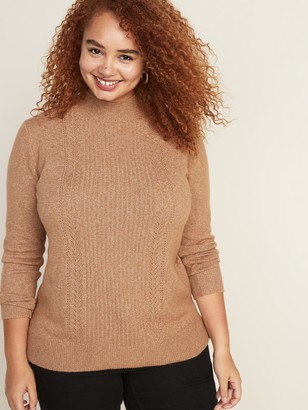 Old Navy Cozy Plus-Size Mock-Neck Pointelle Sweater