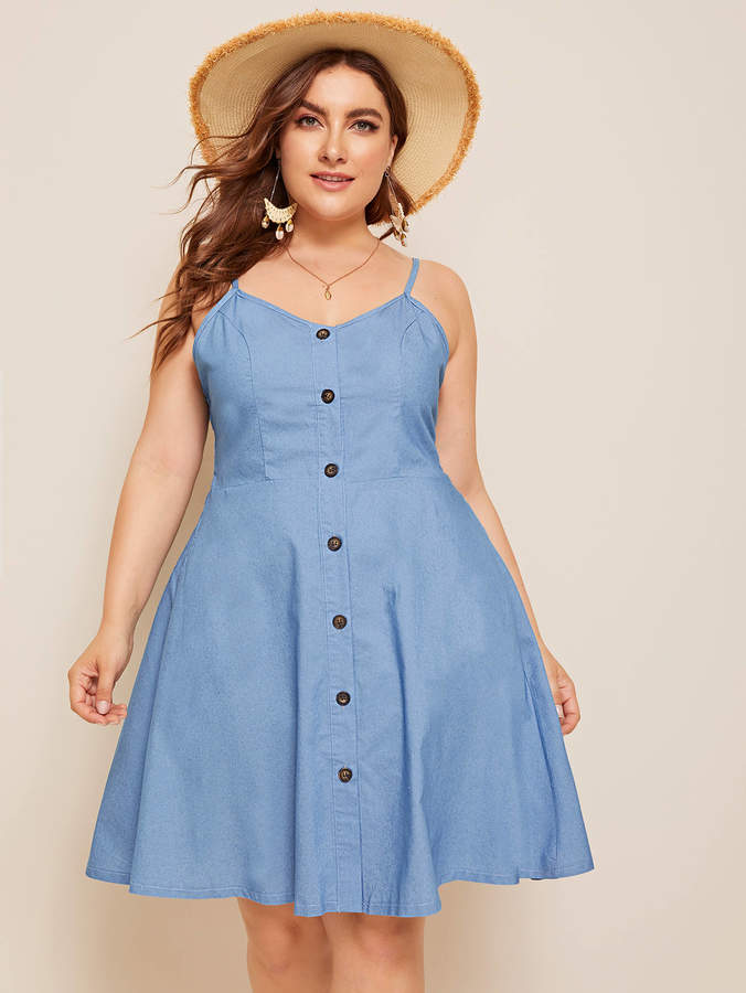0beef39cf71 Plus Button Front Shirred Denim Cami Dress