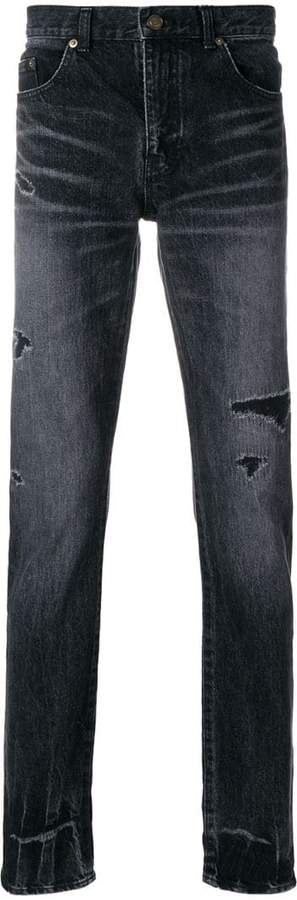 Saint Laurent ripped low waisted skinny jeans