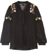 Anna Sui Garden Embroidered Georgette Blouse