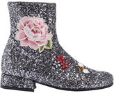 MonnaLisa Rose Glitter Leather Ankle Boots