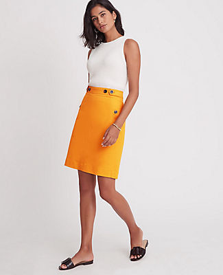 Ann Taylor Petite Doubleweave Button Tab A-Line Skirt