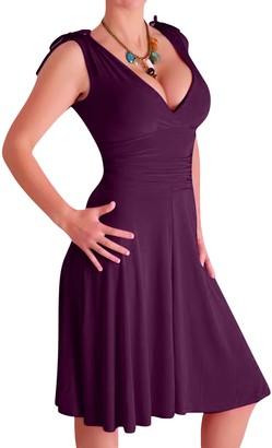 EyeCatchClothing - Sasha Grecian Style Slinky Dress Purple Size 10