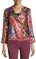 Etro Foiled Floral-Print Jacket, Orange/Purple/Gold
