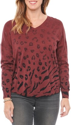 Wit & Wisdom V-Neck Animal Print Ombre Sweater
