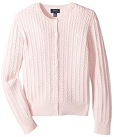 Polo Ralph Lauren Cable Knit Cotton Cardigan (Little Kids/Big Kids) (Hint of Pink/Nevis Pony Player) Girl's Sweater