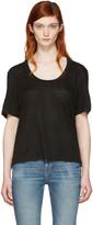Frame Black Linen U-Neck T-Shirt