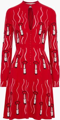 Valentino Embellished Cutout Silk-crepe Mini Dress