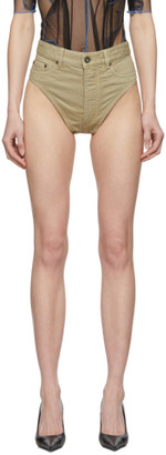 Y/Project Beige Denim Janties Shorts