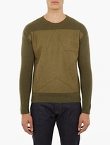 Valentino Khaki Military-Style Sweater