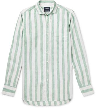 Drakes Cutaway-Collar Striped Linen Shirt