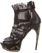 Alexander McQueen Leather Cage Ankle Boots