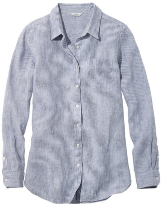L.L. Bean Women's Premium Washable Linen Shirt, Tunic Stripe