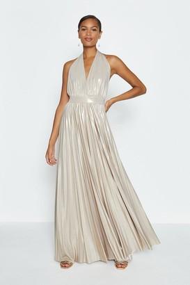 Coast Halterneck Metallic Pleated Maxi Dress