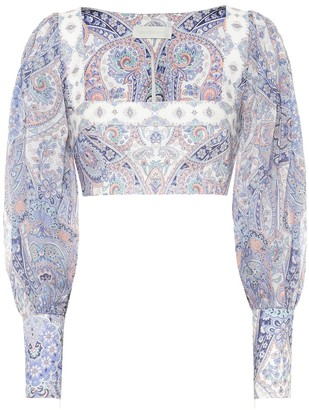 Zimmermann Exclusive to Mytheresa Paisley ramie and linen cropped blouse