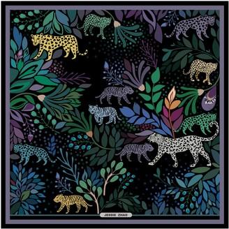 Jessie Zhao New York Silk Scarf With Zoo Animals At Night