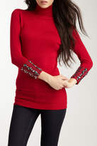 Vertigo Embellished Cuff Turtleneck Top Sweater