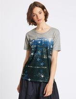 Marks and Spencer Cotton Blend Printed Short Sleeve T-Shirt