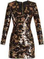 Balmain Deep V-neck sequin mini dress