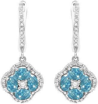Diana M Fine Jewelry 14K 2.21 Ct. Tw. Diamond & Blue Topaz Earrings