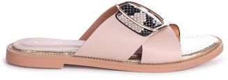 Linzi VEGAS - Nude & Snake Crossover Slip On Slider With Giant Buckle Detail