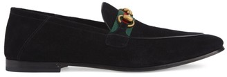 Gucci Suede Horsebit Loafer With Web