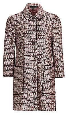 St. John Women's Piped Trim Patch Pocket Tweed Coat