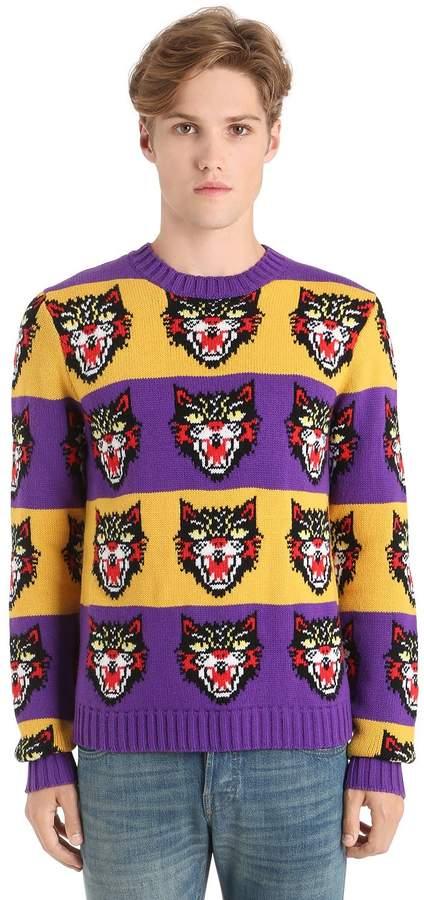 Gucci Wool Cat Jacquard Knit Striped Sweater