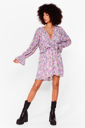Nasty Gal Womens Pleat Your Match Floral Mini Dress - Pink