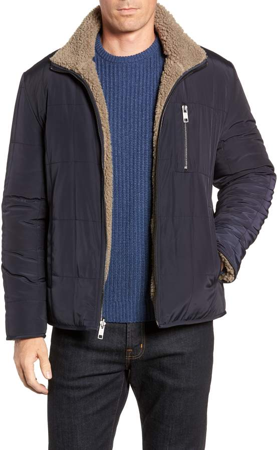 Andrew Marc Faux Shearling Reversible Quilted Jacket